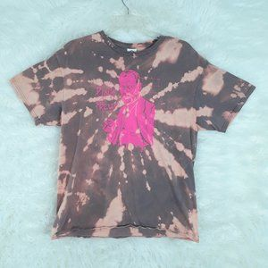 UPCYCLED Bleached cotton PINK FRUED tshirt LARGE